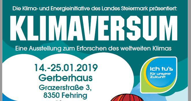 Klimaversum-Ausstellung, 14. bis 25. Jänner 2019, Fehring