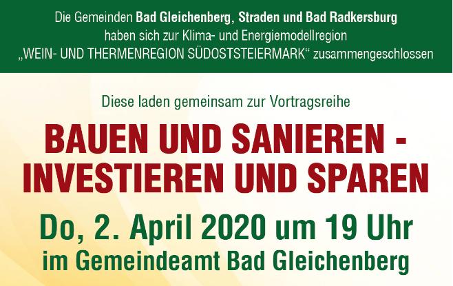 Bauen und Sanieren – Investieren und Sparen, 2.04.2020 in Bad Gleichenberg