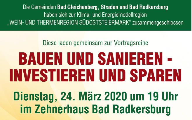 Bauen und Sanieren – Investieren und Sparen, 24.03.2020 in Bad Radkersburg