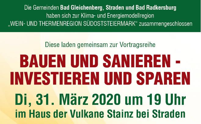 Bauen und Sanieren – Investieren und Sparen, 31.03.2020 in Straden