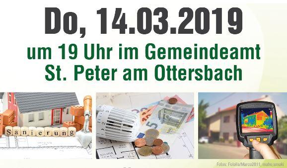 """Vortrag """"Bauen und Sanieren"""" am 14. März 2019 in St. Peter am Ottersbach"""