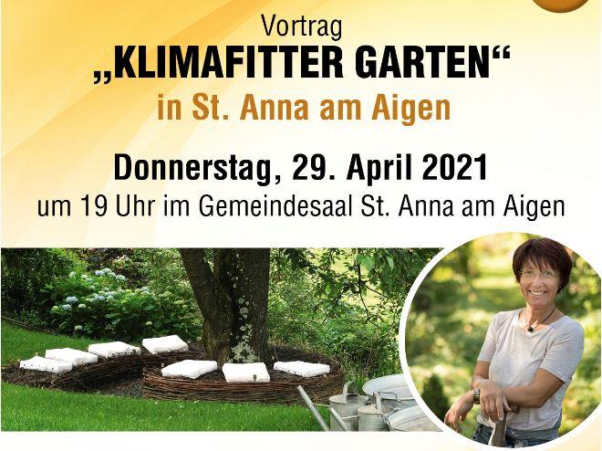 """Vortrag """"Klimafitter Garten"""" – 29. April 2021, St. Anna am Aigen"""